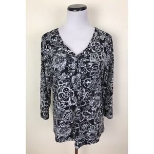 Charter Club Floral V Neck 3/4 Sleeve Top XL